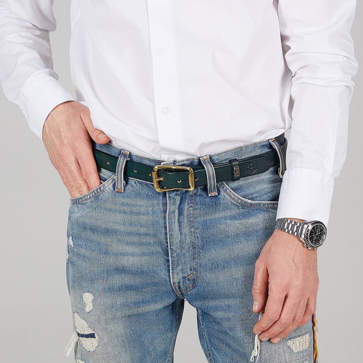 Luxury narrow belt 25mm with patina bluemarine