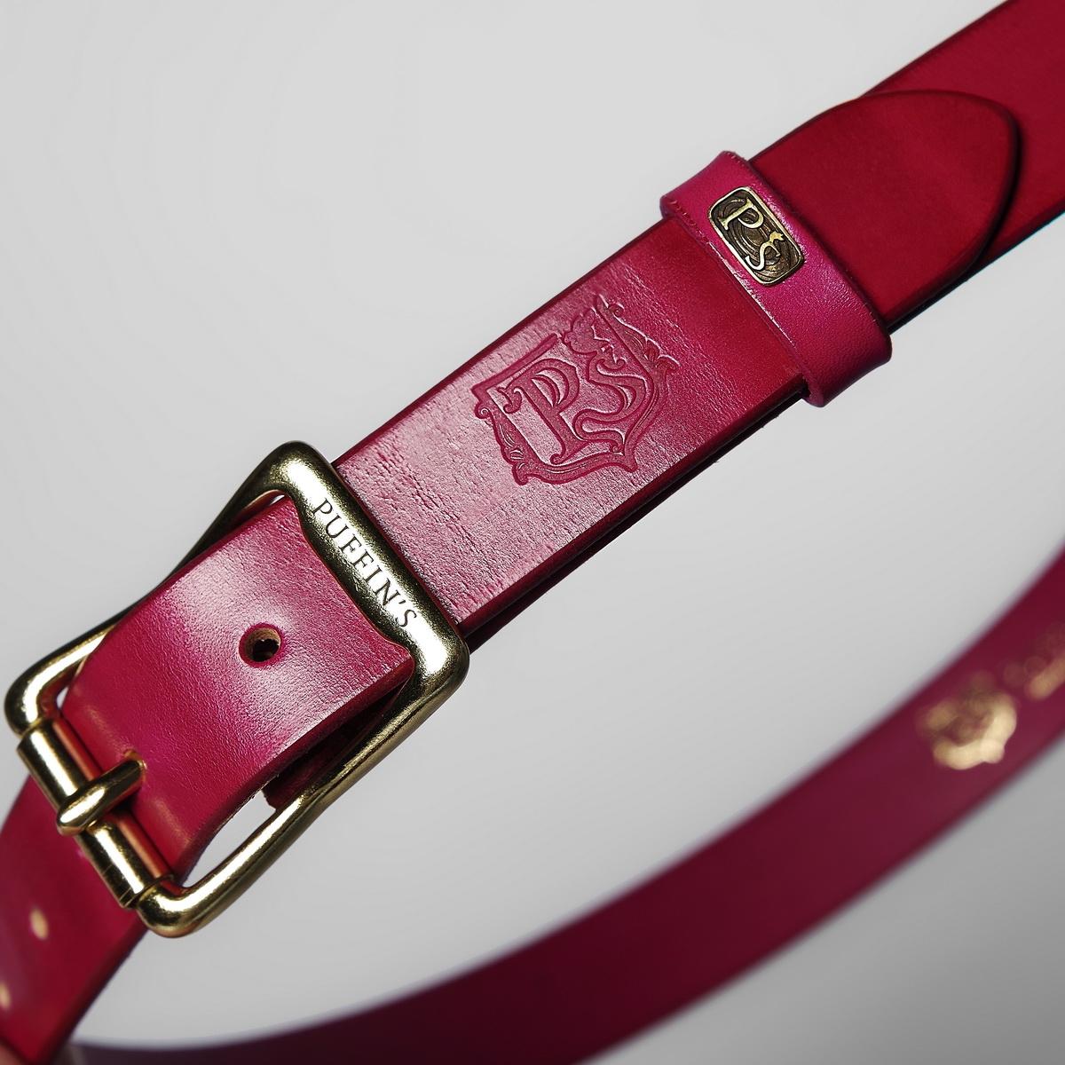 Элегантный ремень шириной 30мм с роликовой латунной пряжкой пурпурный