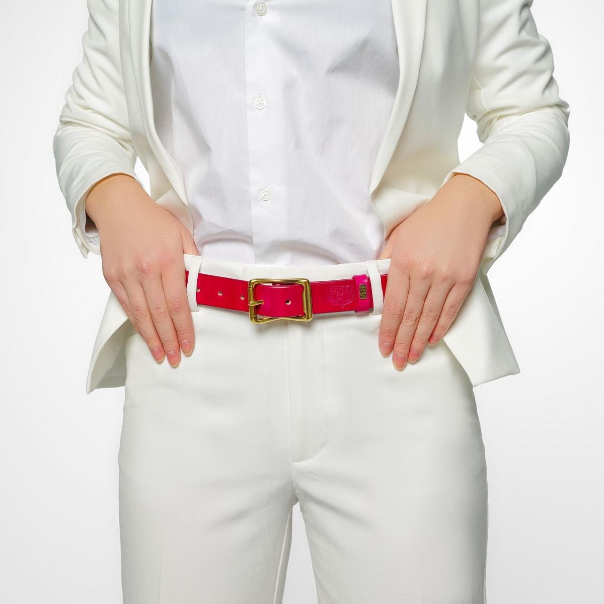 Exquisite belt with roller brass buckle 30mm magenta