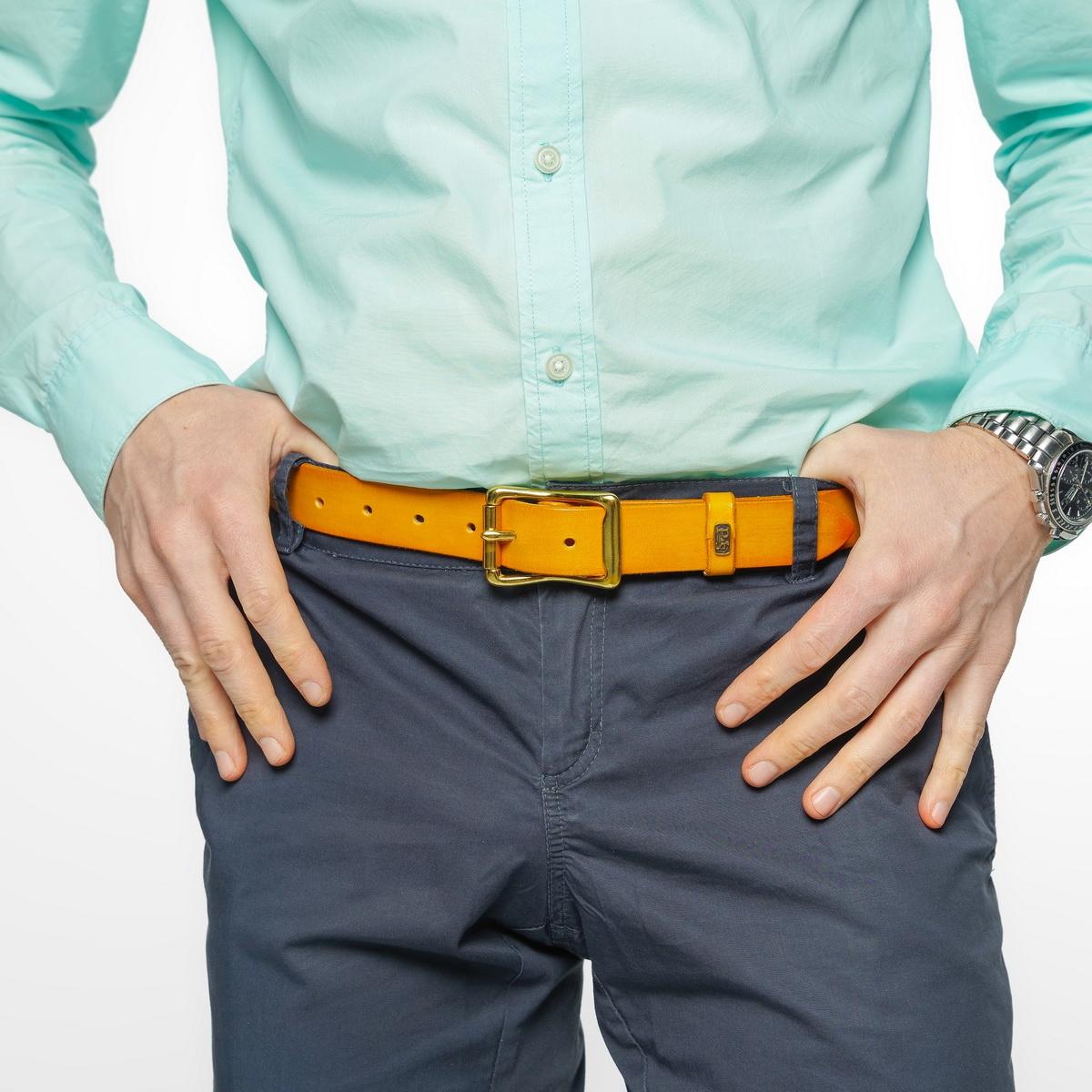 Exquisite belt with roller brass buckle 30mm bright mustard