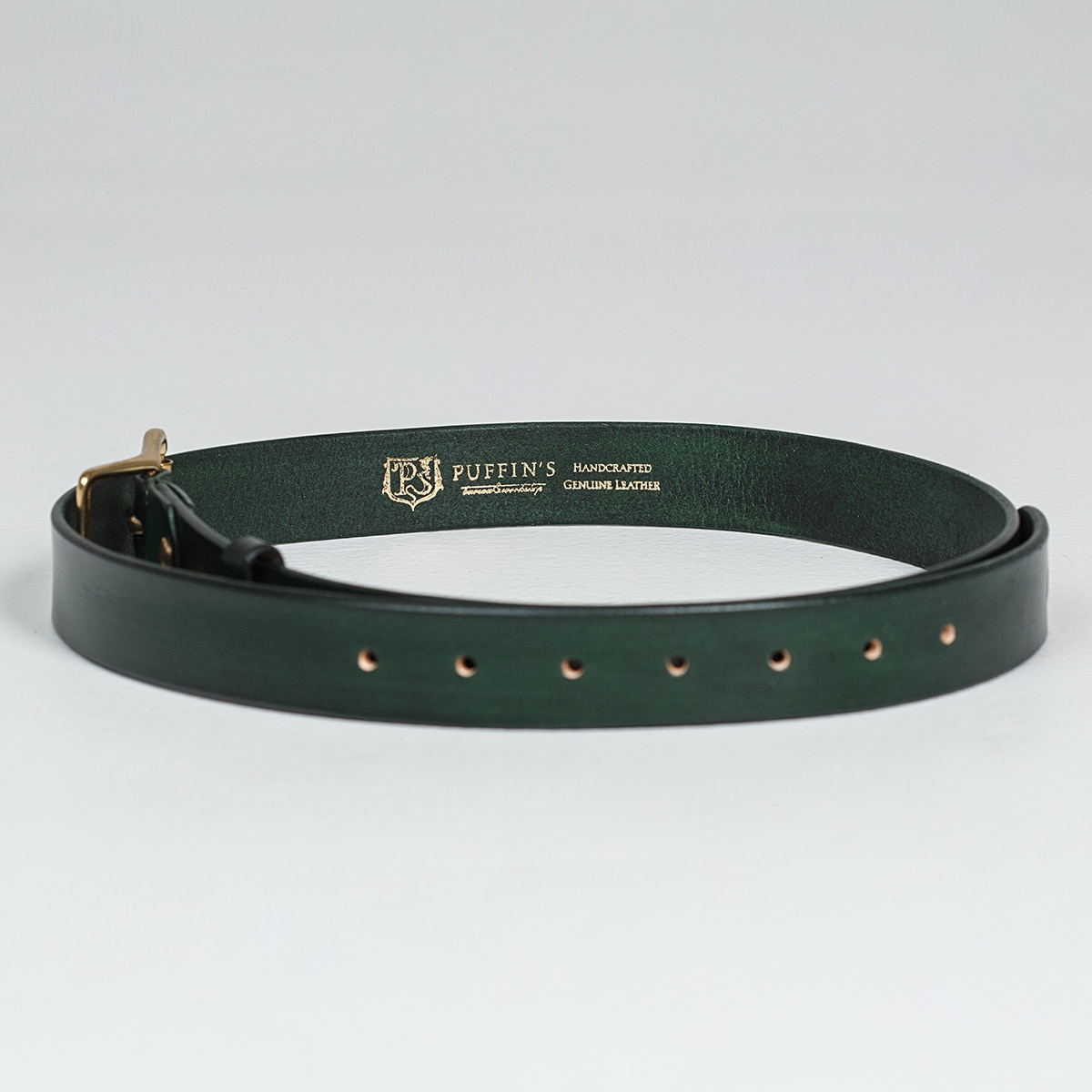 Exquisite belt with roller brass buckle 30mm grassy green