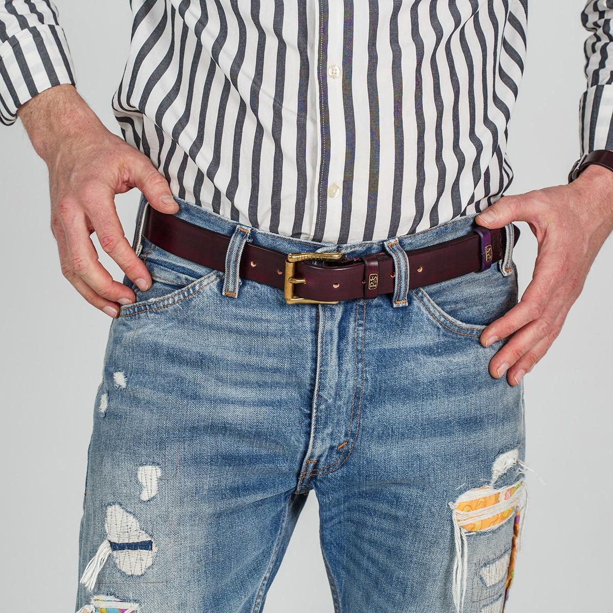 Традиционный джинсовый ремень шириной 32 мм бордо