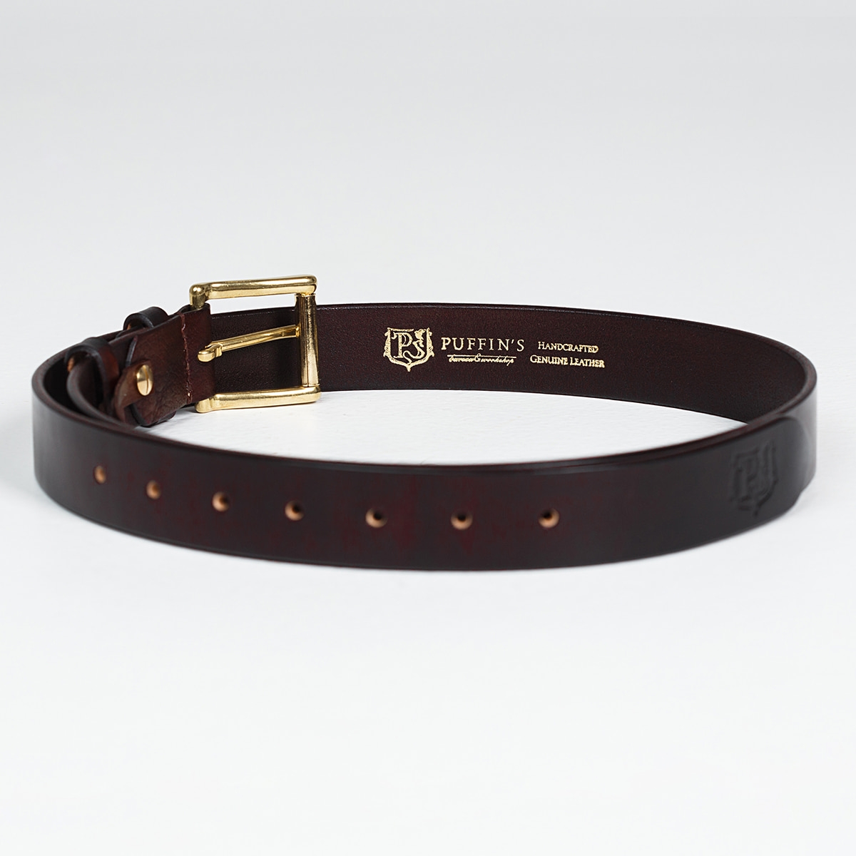 32mm traditional belt with brass buckle chestnut