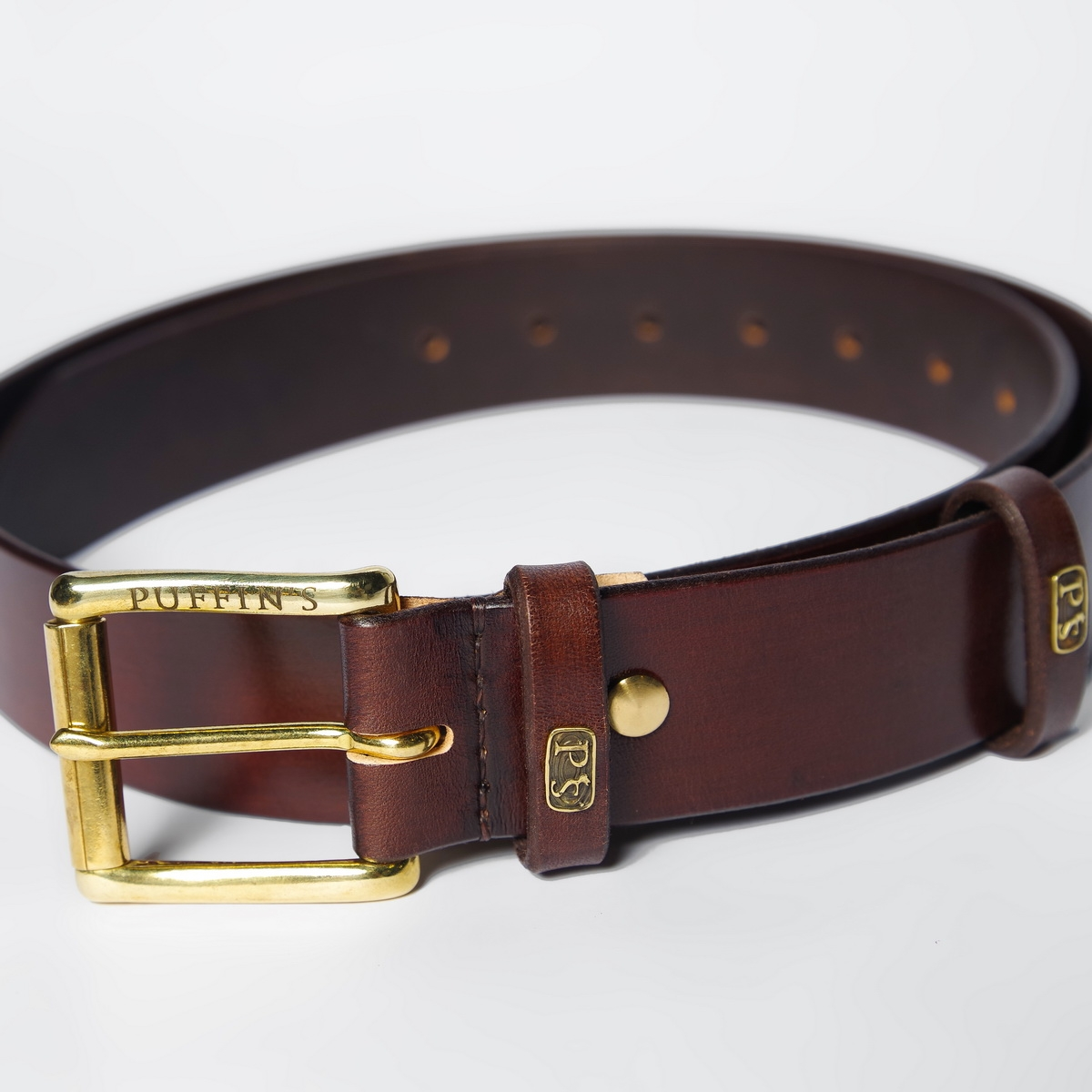 Wide belt for jeans with a 40mm brass buckle chestnut