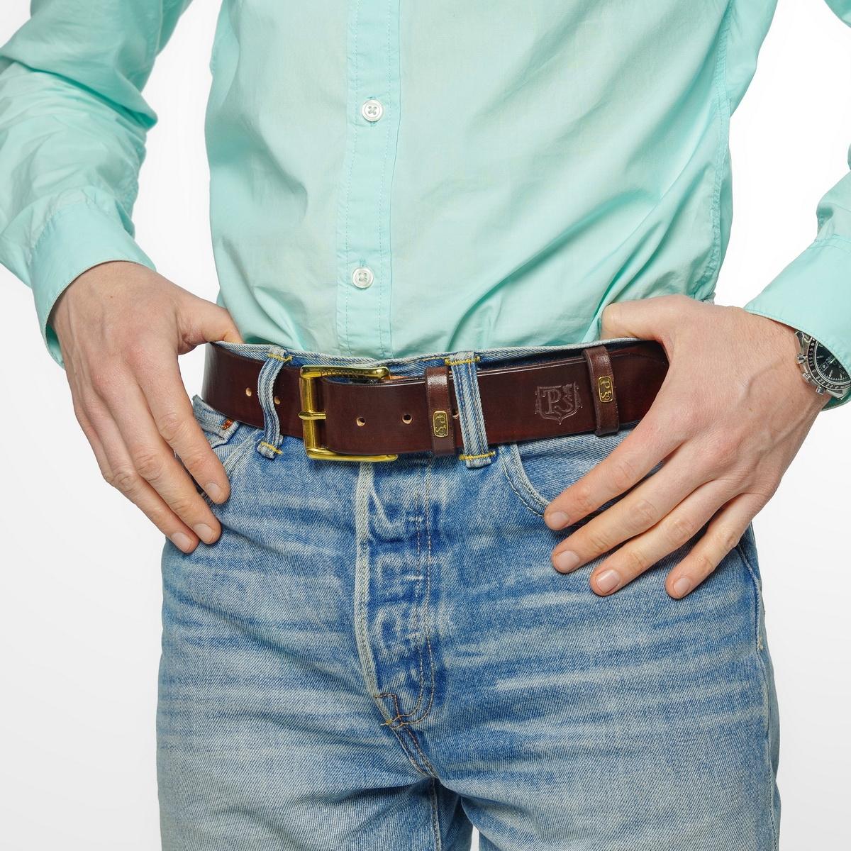 Широкий джинсовый ремень с латунной пряжкой 40мм каштановый