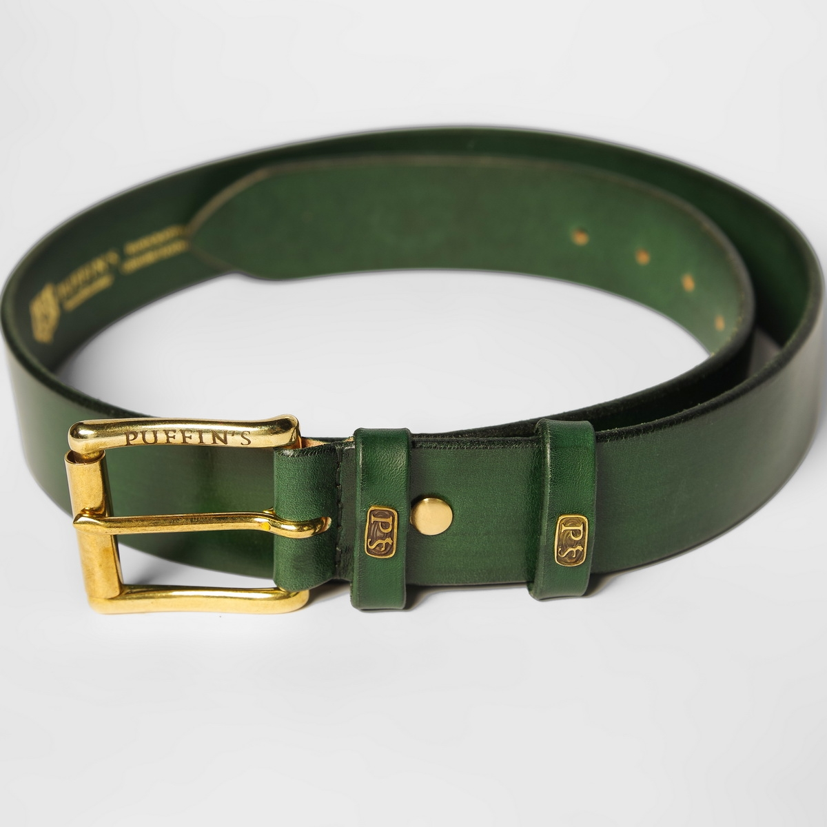 Wide belt for jeans with a 40mm brass buckle grassy green