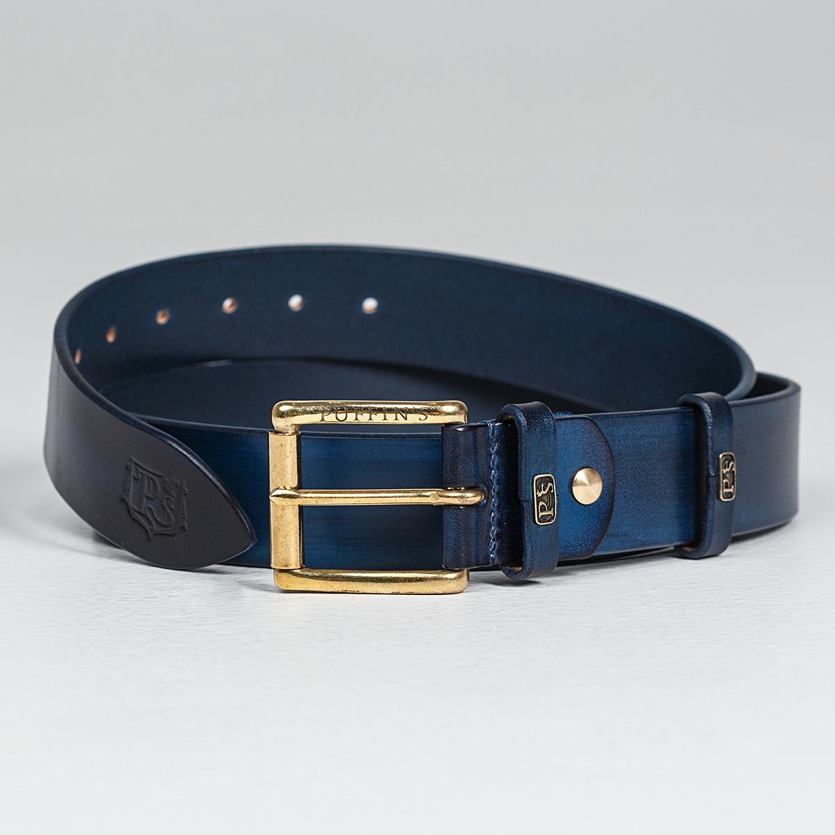 Широкий джинсовый ремень с латунной пряжкой 40мм голубой сапфир