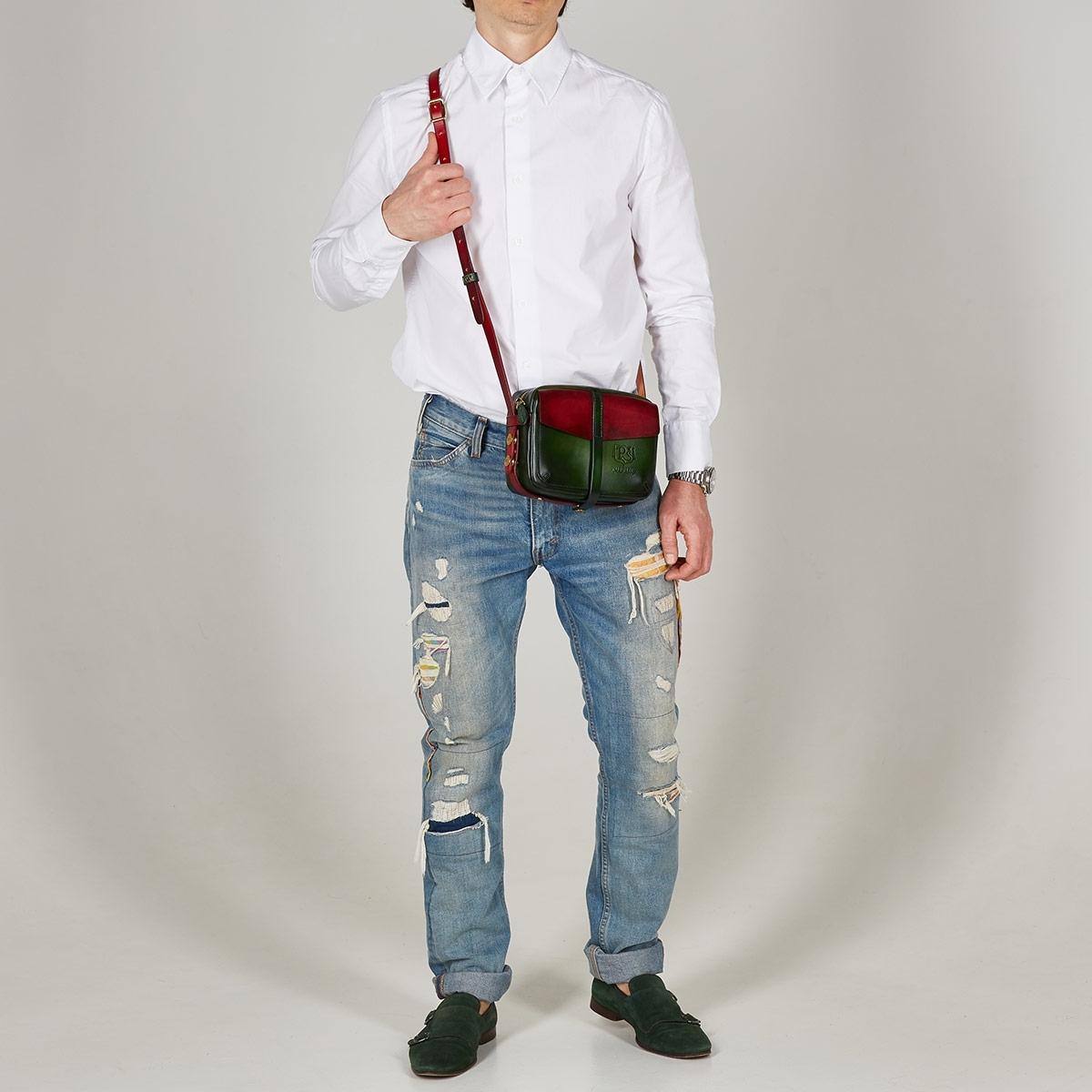 Smart crossbody bag - clutch PUFF red currant & grassy green