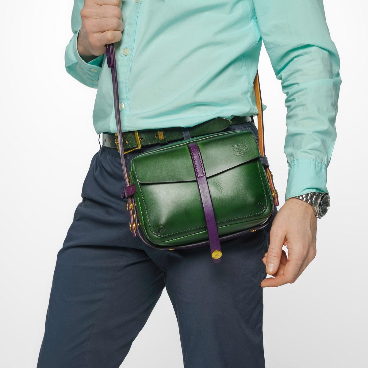 Smart crossbody bag - clutch PUFF violet ink & grassy green