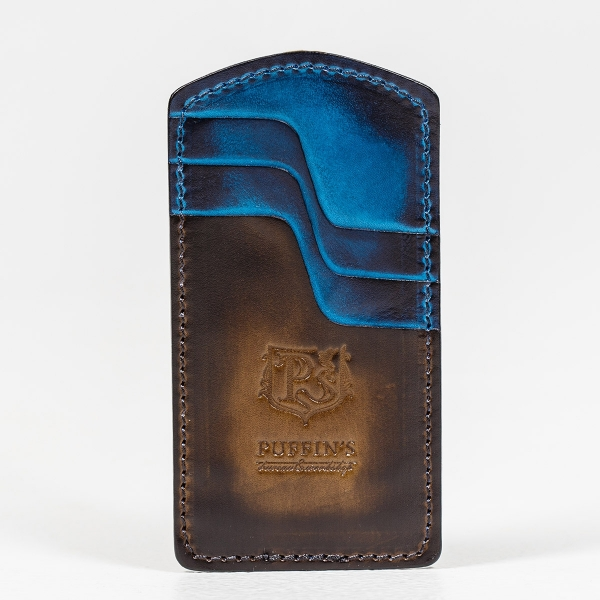 Cardholder TOWER chestnut & sapphire blue
