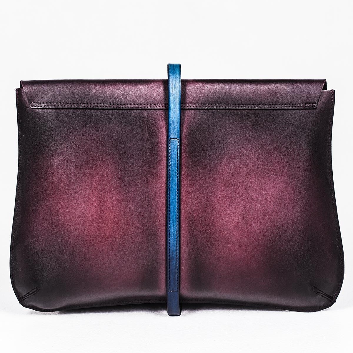 Elegant clutch CELLO / 13'' MacBook case sapphire blue & plum wine