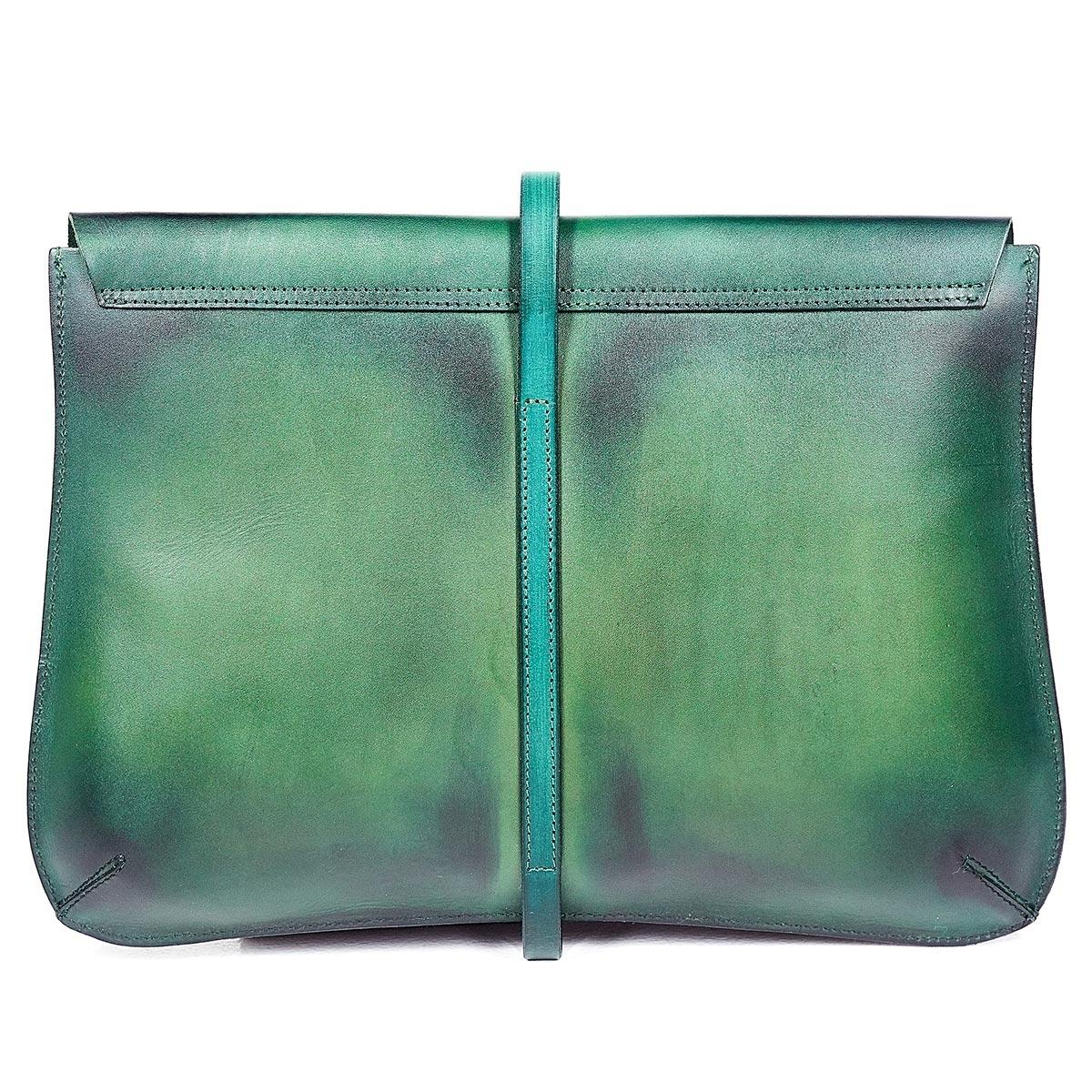 Elegant clutch CELLO / 13'' MacBook case grassy green & bluemarine