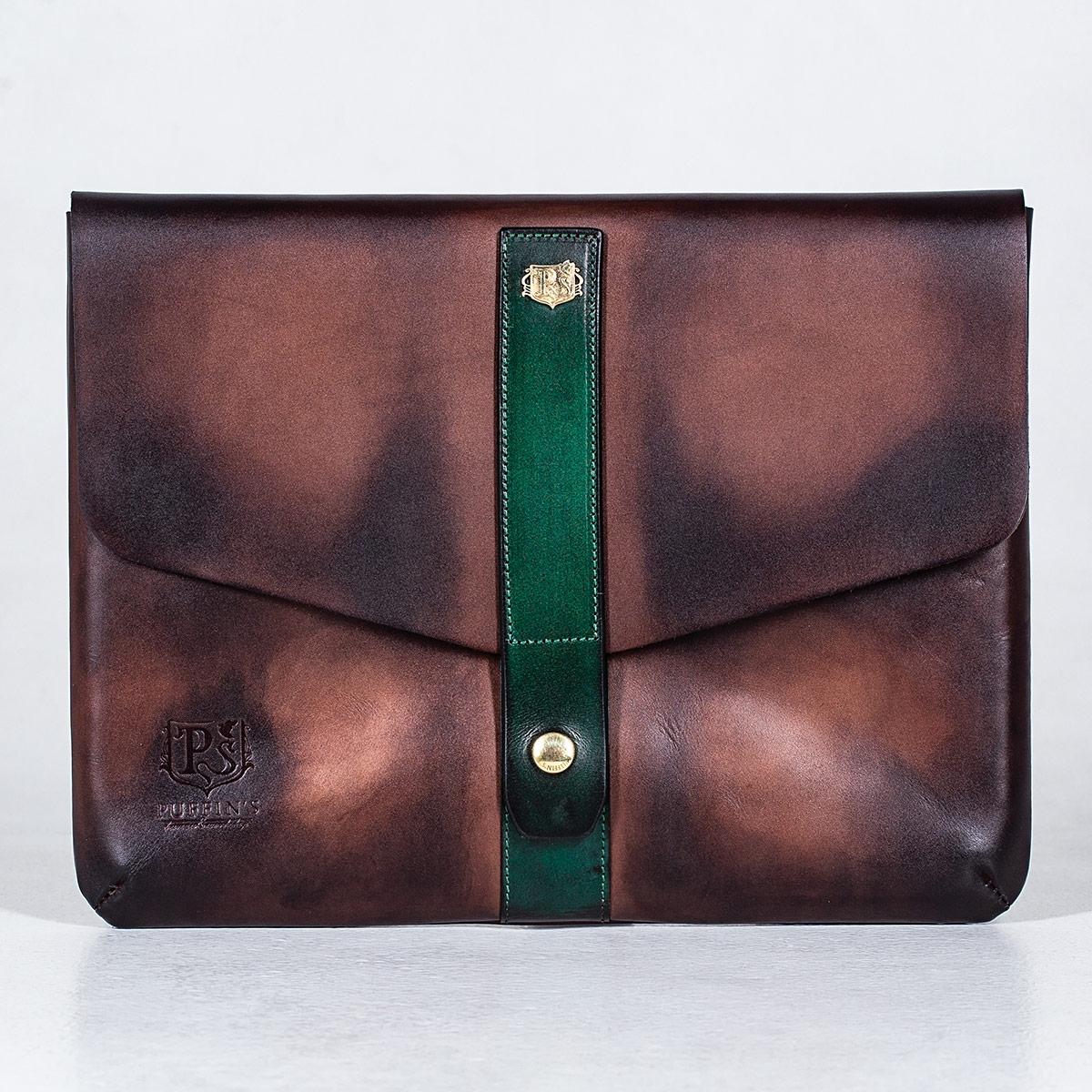 Document folder SOHO / 13'' MacBook case grassy green & chestnut