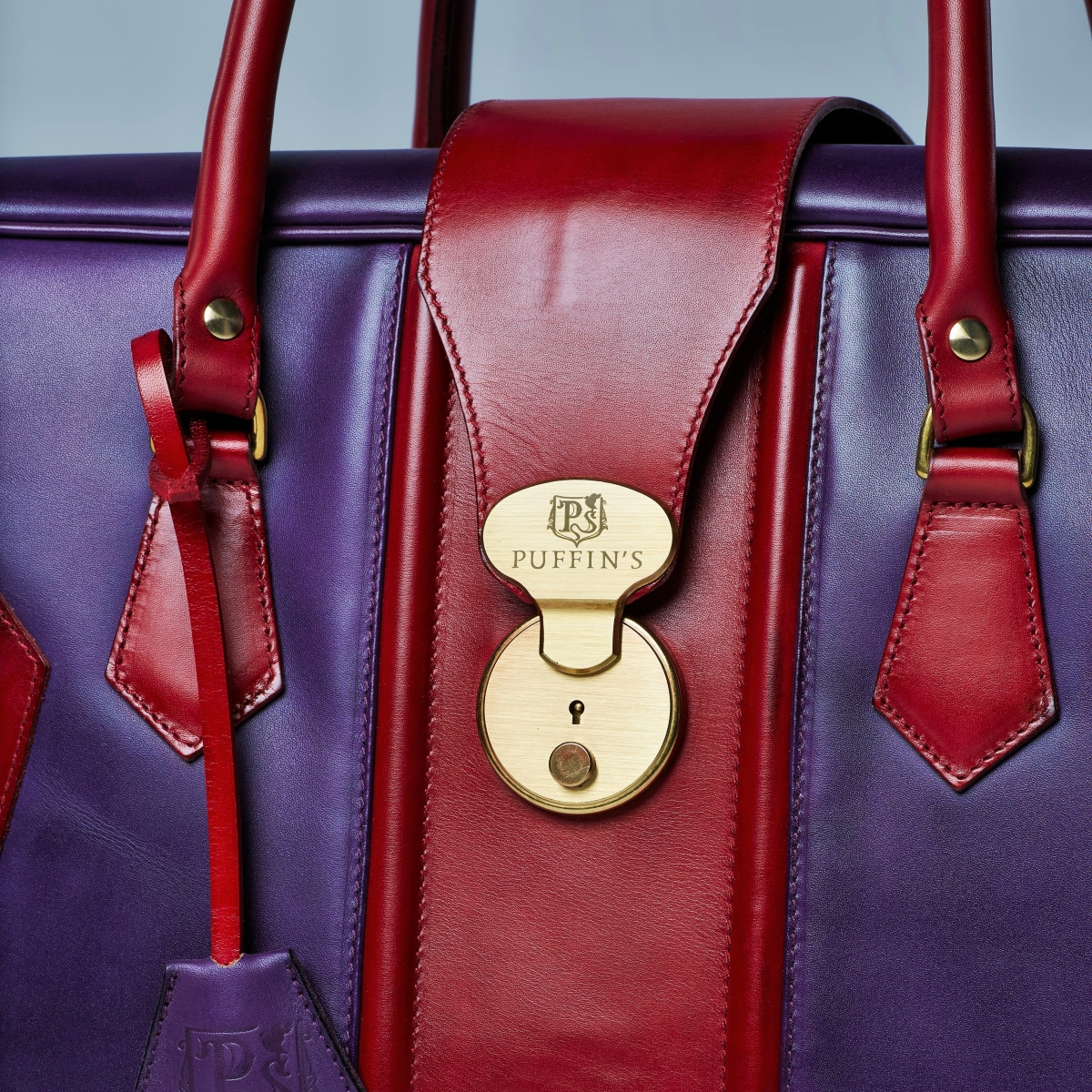 Leather suitcase HOLIDAY red currant & violet ink