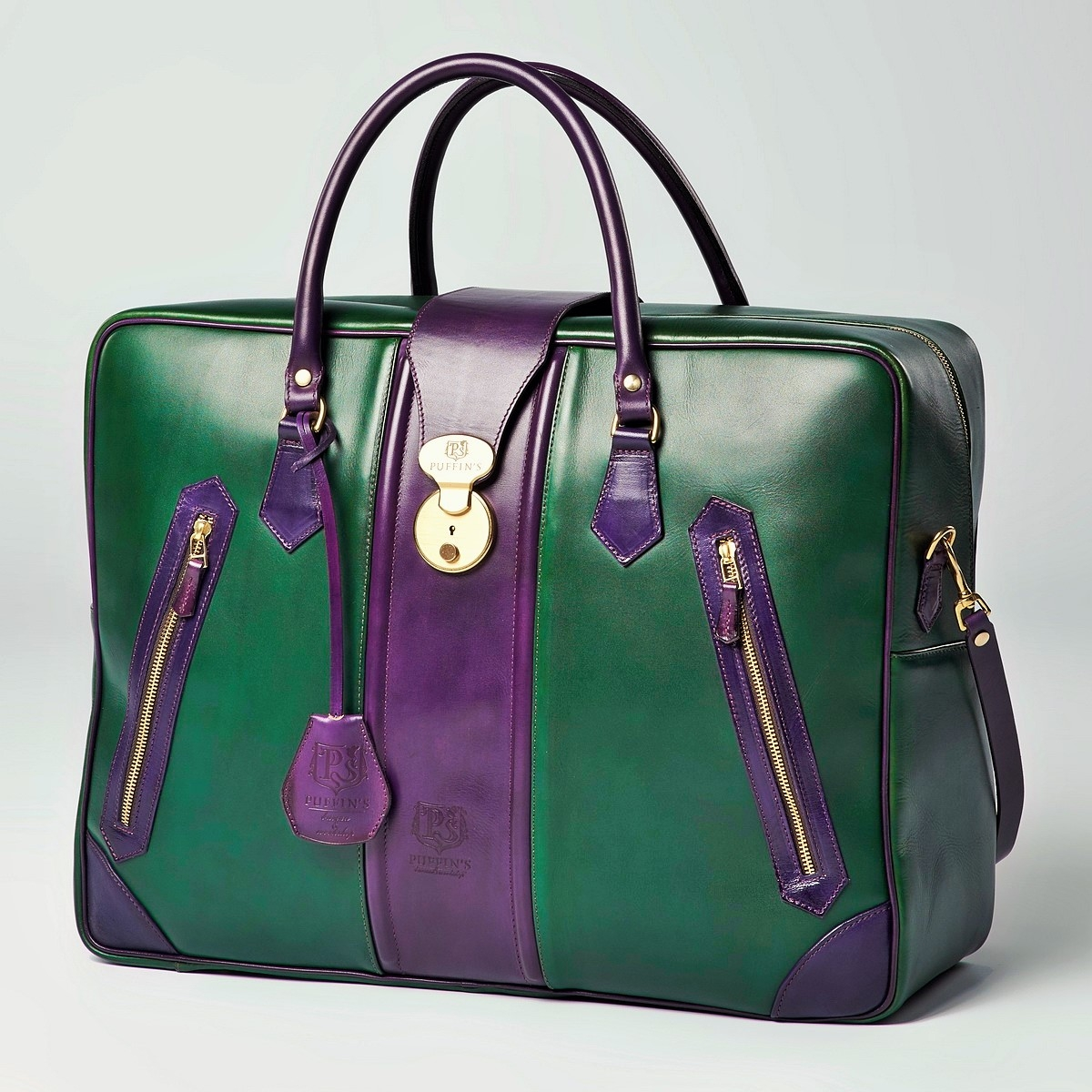 Leather suitcase HOLIDAY violet ink & grassy green