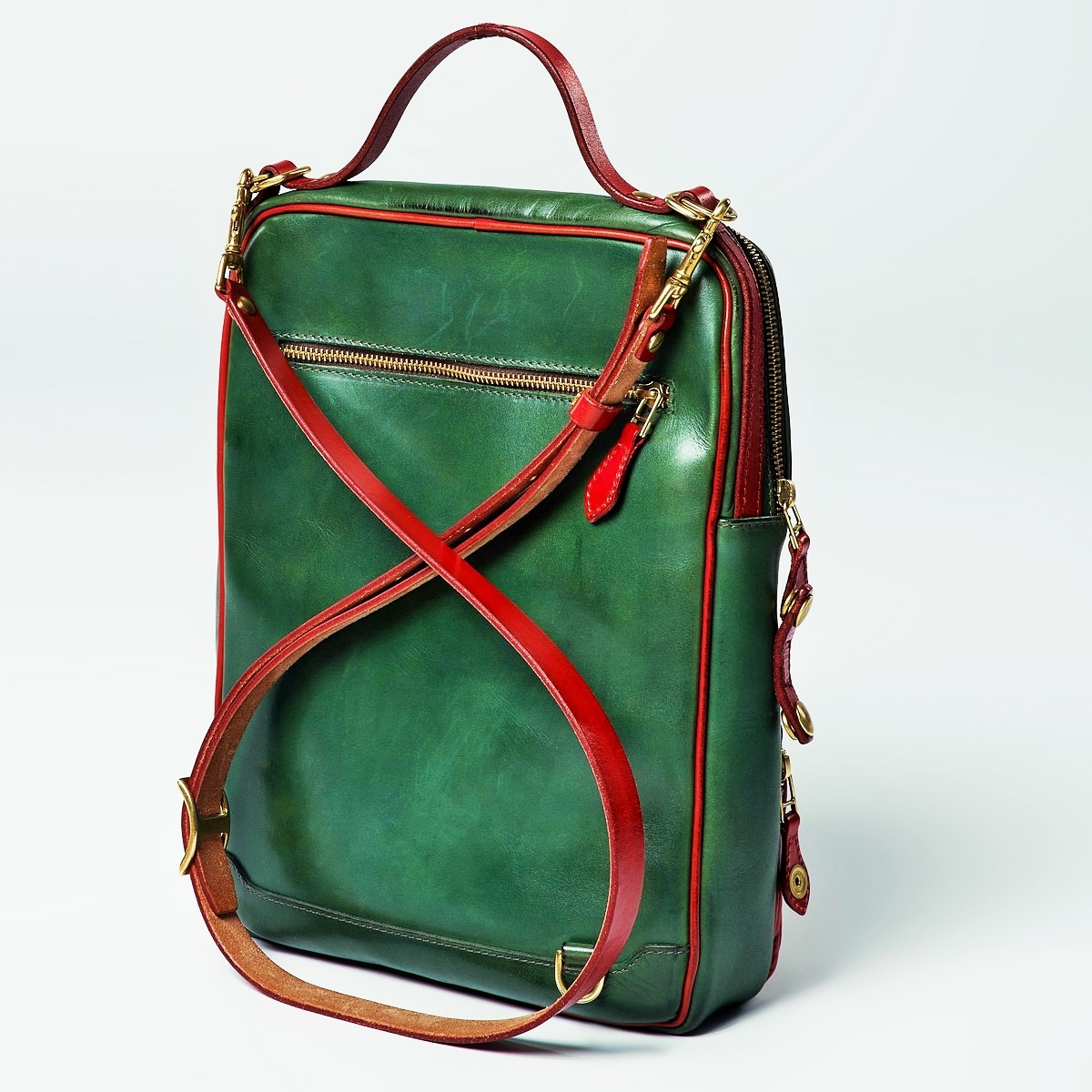 Crossbody bag-transformer CHELSEA red currant & grassy green