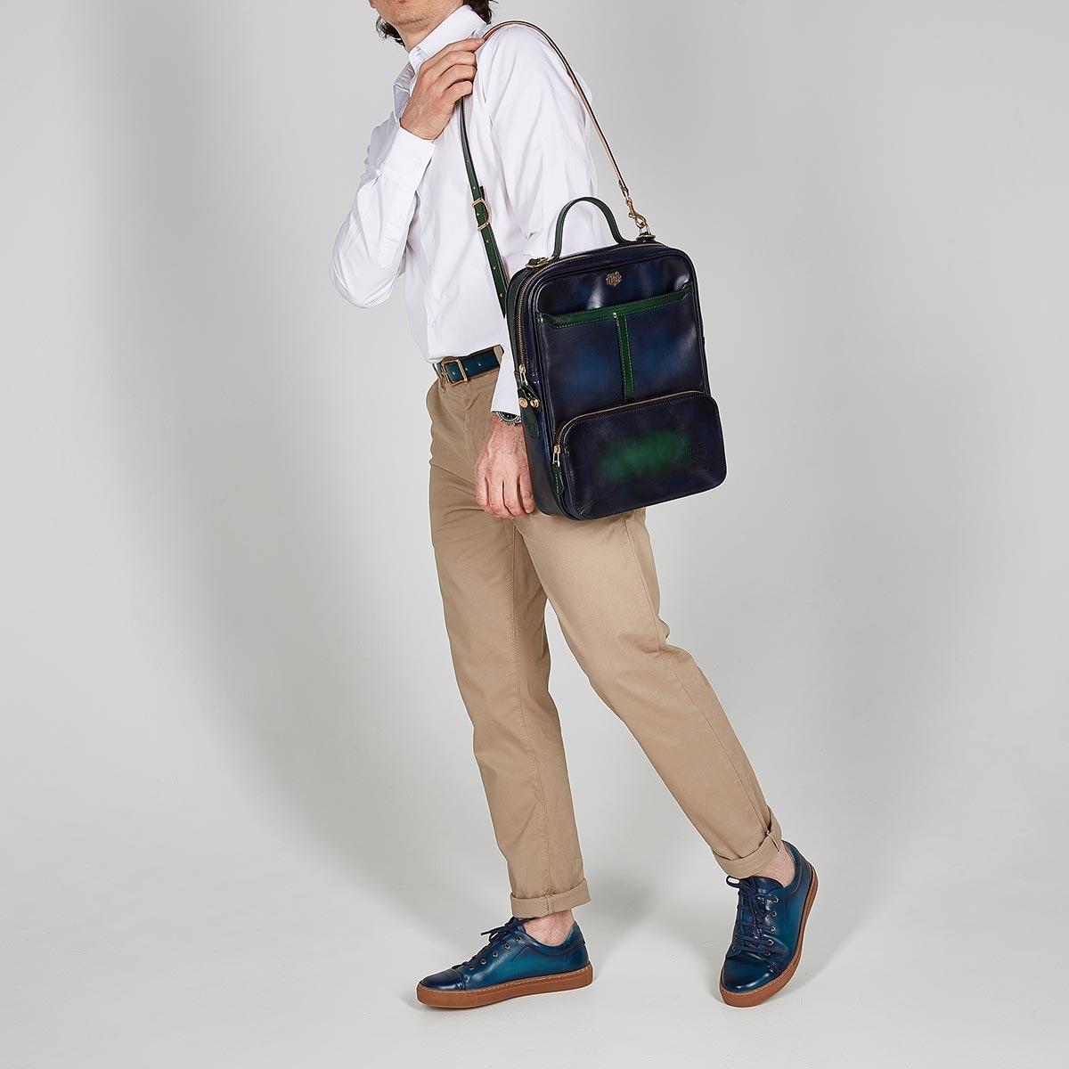 Crossbody bag-transformer CHELSEA grassy green & midnight blue
