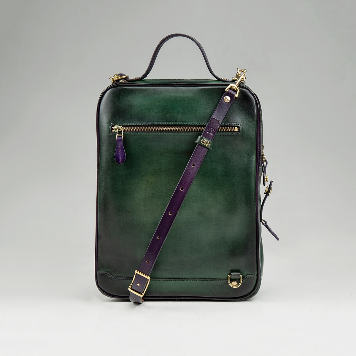 Crossbody bag-transformer CHELSEA violet ink & grassy green
