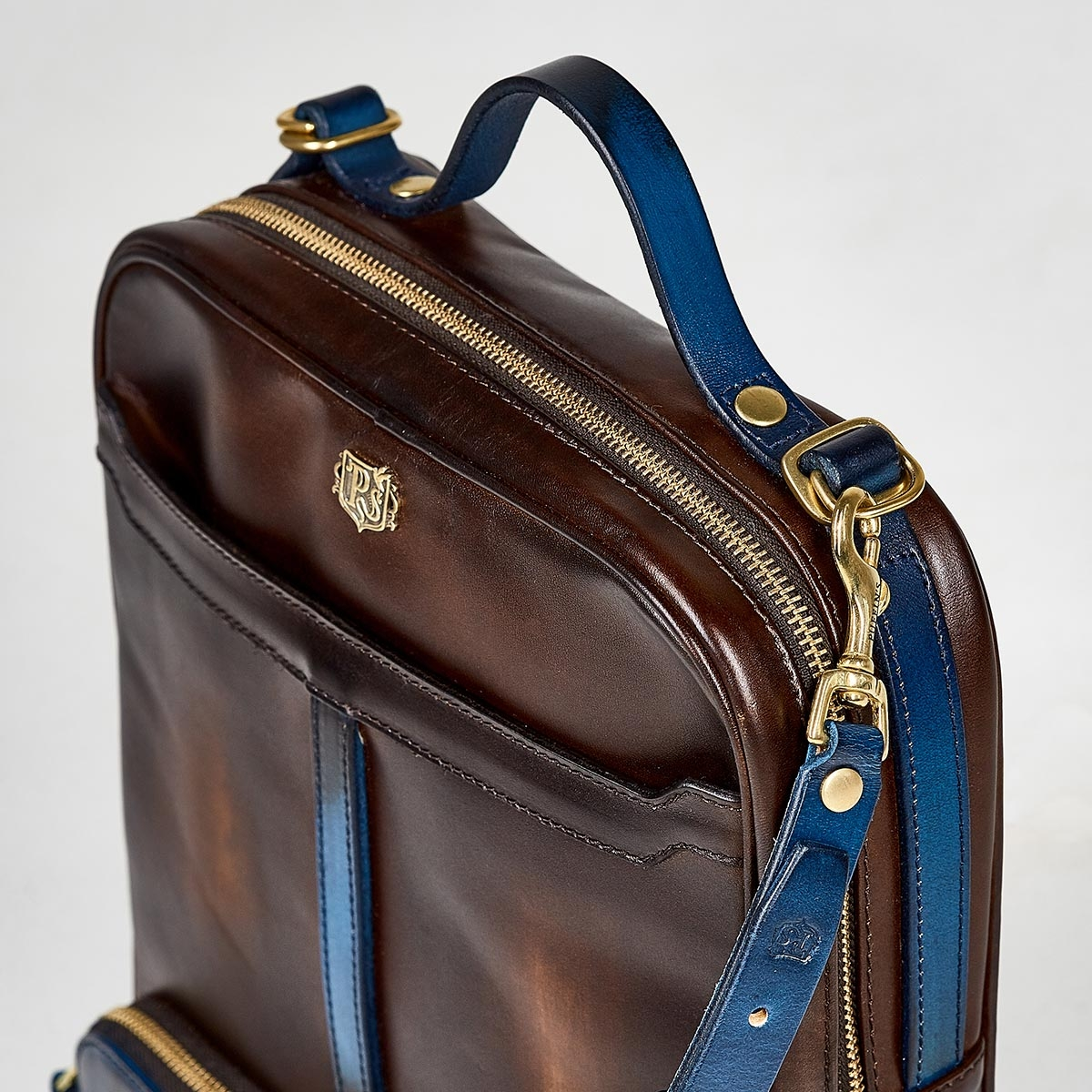Crossbody bag-transformer CHELSEA sapphire blue & chestnut