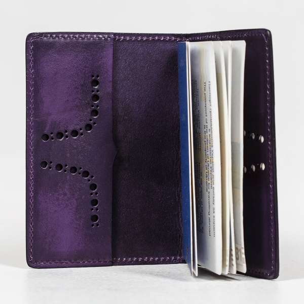 Passport cover CYNARA magenta & violet ink